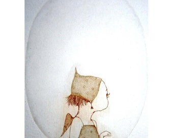 Etching / limited edition original etching (printmaking / graphic art) / original print / original art / angel etching - 'Little Soul 1'