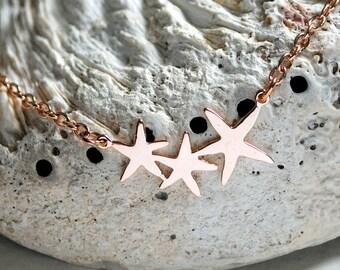 Bright Stars Rose Gold Necklace Starfish Beach Jewellery