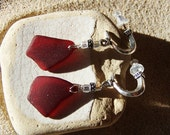 Sea Glass Earrings - Red Sails on Silver Grecian Hoops with Glass and Heishi Bead Accents ER 18