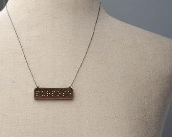 PURPOSE Braille Necklace : Modern / Minimalist / Message / Virtue