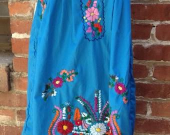 Turquoise Embroidered Mini Tunic Dress- Medium