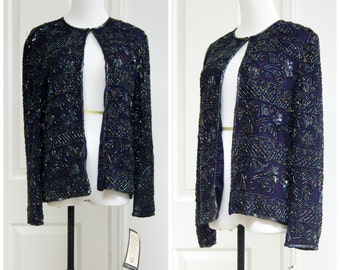 80s Beaded Blouse Dark Purple Small NWT Fancy Formal Sparkly Long Sleeves