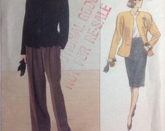 Vintage Vogue American Designer Sewing Pattern Anne Klein Jacket, Pants & Skirt Size 12-14-16 Uncut 1989