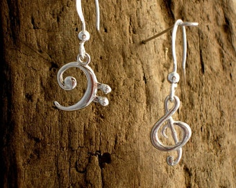 Treble and Bass Clef Earrings, Silver, Music Jewellery , Music Earrings, Music notes, G- clef and F- clef Earrings, Gift for Musician.
