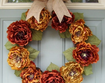 Fall Wreath - Autumn Wreath - Fall Door Wreath - Fall Peony Wreath