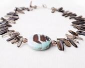 Stunning Seafoam and Chocolate Brown Onyx Pendant. Smoky Quartz Crystal Necklace. Smoky Quartz Points Polished. High End Quality Gemstones