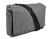 Grey tweed Large Bag - Messenger Bag with Adjustable Straps - Dundee Vegan Messenger