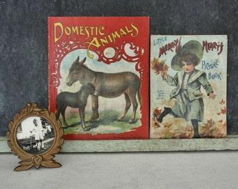 2 Antique McLoughlin Linen Picture Books
