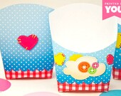 Sew Cute Snack Box Set : DIY Printable Button and Sewing Fry Box PDF - Instant Download