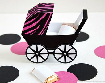 Zebra Baby Carriage Favor Box - Hot Pink & Black : DIY Printable Baby Buggy Gift Box | Pram | Modern | Baby Shower Favor - Instant Download