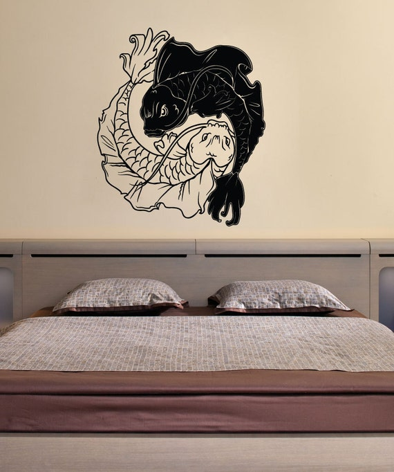 Vinyl wall decal sticker koi fish yin yang 1461m for Koi fish wall stickers
