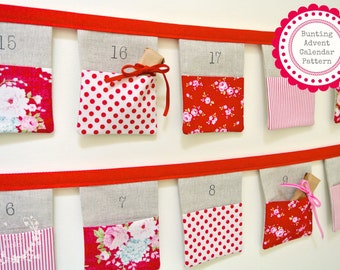 Pattern ~ 24 Pocket Bunting Advent Calendar PDF Pattern