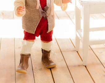 KNIT BABY SOCKS off white socks with Pom Poms Baby shower gift Baptism accessory Legwear