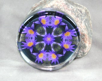 Lotus Paperweight Zen Chakra Boho Chic Mandala New Age Sacred Geometry Hippie Kaleidoscope Mod Unique Boss Gift Teacher Gift Lily Liscio
