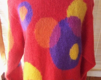 80s THE WEATHERVANE--Call Me Bubbles, Darling!--Wool and Mohair Blend--Oversized--Slouchy
