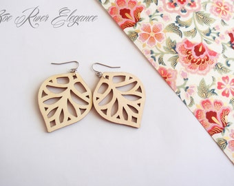 Lightweight natural wood leaf earrings low shipping! made from laser cut wood