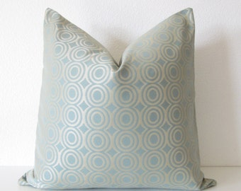 Candice Olson light blue gold circles designer throw pillow cover