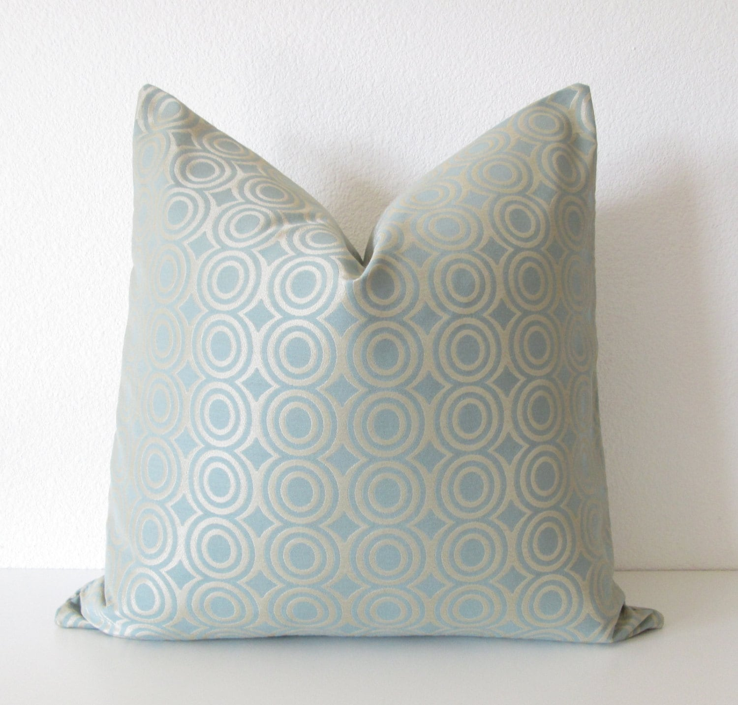 Candice Olson light blue gold circles designer throw pillow