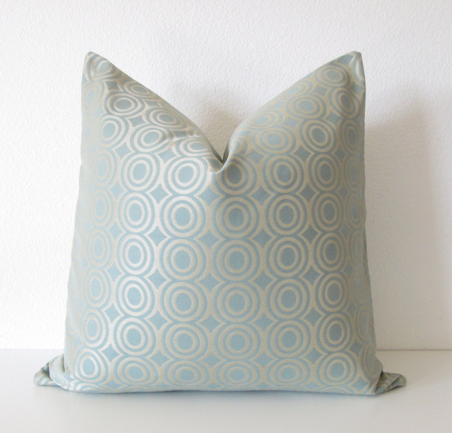 Light Blue And Gold Throw Pillows : Candice Olson light blue gold circles designer throw pillow