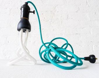 Teal Color Textile Cloth Pendant - Hanging Plumen Light - Black Hardware - Twisted Light Bulb - Unique Home Decor -Custom Designed OOAK