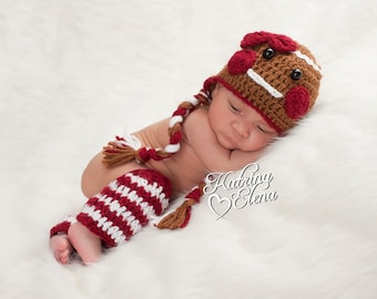 Baby Girl Photo Prop/ Newborn Girl Hat and Legwarmers/Gingerbread Hat and Legwarmers/Christmas  Newborn Prop/Gingerbread Girl Hat