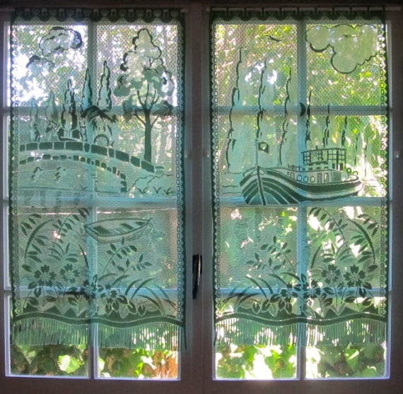 Green Lace Curtain French Window Curtain Picture Lace