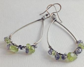Rustic Hoop Sterling Silver Earrings with Wire Wrapped Blue & Green Gemstones
