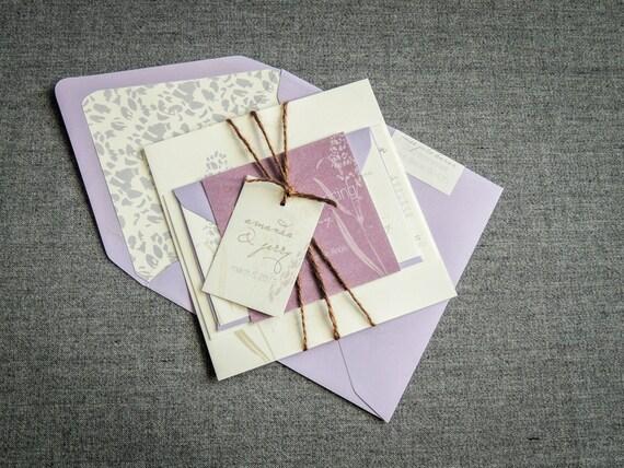 Purple Rustic Wedding Invitations: Purple Rustic Wedding Twine Wedding Invitations Lilac