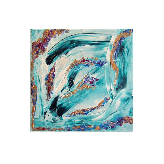 Spring Breeze, Original Modern Art Textured Abstract Painting by Lisa Strassheim - Teal - Gold - Turquoise