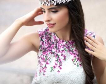 Bridal headpiece - Bohemian headpiece - Crystal tiara - Crystal halo - Rhinestone headband - Crystal headband
