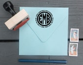 Monogram Stamp | Custom Personalized Return Address Rubber Stamp with Wood Handle or Self-Inking Stamper | Modern Circle Monogram