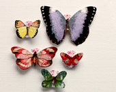 Set of 5 Paper Butterflies. 3D Embellishments. Scrapbooking.