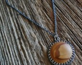 Picture Jasper Sterling Silver Necklace Mens Womens