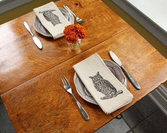 Cotton Napkins - Owl hand screen printed set of 2 dinner napkins - ecofriendly - reusable napkins for your table setting