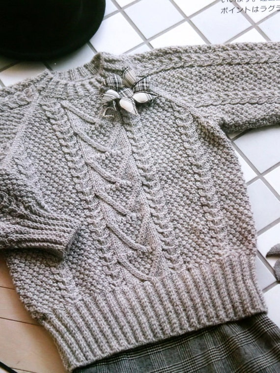 Knitting Pattern Sweater With Collar : Vintage Knit Sweater Pattern Knitting Collar by DeStashAttic