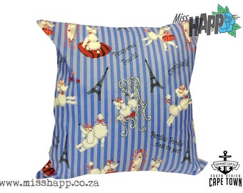 """Striped French Poodle cushion 18"""" x 18"""""""