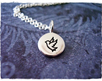 Tiny Dove Necklace - Sterling Silver Dove Charm on a Delicate 18 Inch Sterling Silver Cable Chain
