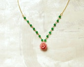 Reserved Listing - Pink rose and green jade necklace