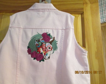 Girls Pink denim Vest-sz 12-Embroidered Horse-Stunning-Sale