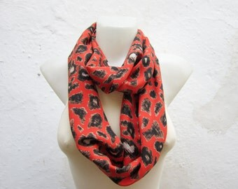 Leopard Animal scarf, infinity Scarves, Loop Accessories,  Autumn Fabric Necklace, Tube Neckwarmer, Orange Black Brown, Christmas Gift