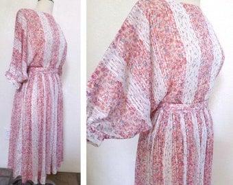 SALE Vintage Sheer Floral Print Dress - Pink Stripes and Flowers Boho Chic