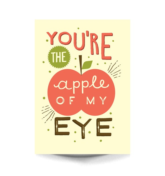 SALE A3 Art Print - 'You're the apple of my eye' - Typography / H...