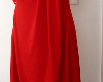 Red cotton rayon jersey dress with drape sleeve