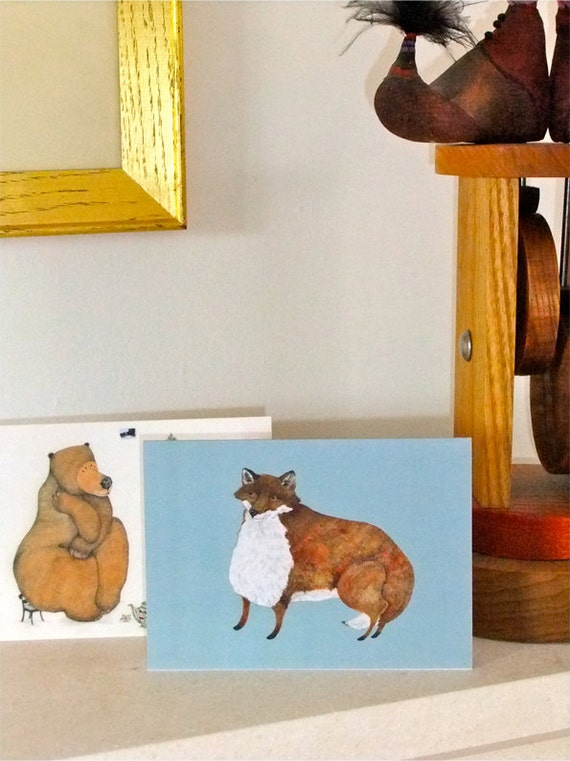 Greeting cards with Fox and Bear 4x6 Glossy blank cards