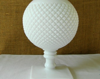 1960s WHITE HOBNAIL SPHERE Westmoreland Milk Glass Ivy Ball Vase Atomic Space Age 1960 Sphere Hobnail White Milk Glass Ivy Ball Jardine Vase