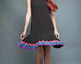 "vintage 80s black dress drop waist colorful pleated skirt sleeveless M L (38"" bust)"