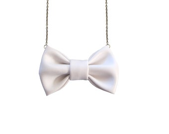 White Leather -  Bow Tie Necklace, Casual Funky Bowtie