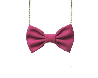 Cerise Bow Tie Necklace, Women Bowtie Accessory Cherry Pink PreTied BowTie for Women and Girls