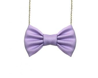 Lavender Bow Tie Necklace, Women Casual Bowtie, Party Favor, Bridesmaids Accessories, Purple Lavender