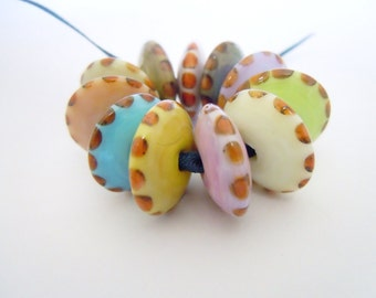 Amsterdam, Set of 11 Lampwork Disc Beads, UK SRA